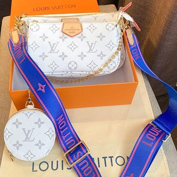 Lv three piece set-Mahjong bag with color-changing leather and soft Monogram fabric White Blue