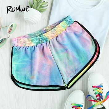ROMWE Water Color Shirred Waist Shorts Women Multicolor Tie Dye Casual Shorts 2017 Fashion Mid Waist Loose Summer Shorts