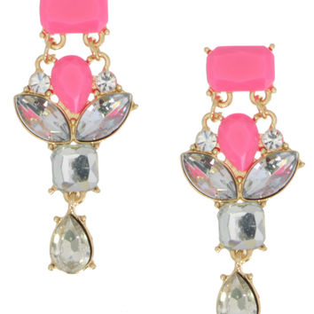 Pink Neon Crystal Earrings