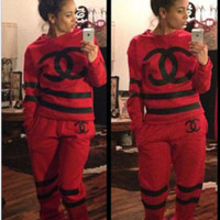 """CHANEL"" NIKE Sport suit color matching stitching letters printing hooded fashion suits Red low price high quality for Black Friday"