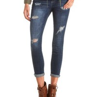 Dark Wash Destroyed Boyfriend Jeans - Dark Destroy Denim