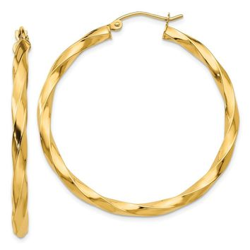 3mm x 38mm Polished 14k Yellow Gold Large Twisted Round Hoop Earrings