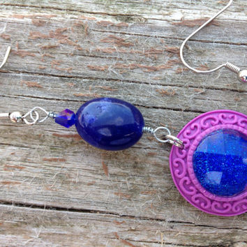 Purple and Blue Crystal Sapphire wire wrapped earrings - Sapphire gemstone jewelry - Sapphire earrings -valentines for women -Easter -gifts
