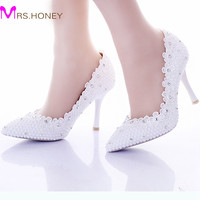 White Pearl Wedding Shoes For Bride Lace Flower Pointed Toe Sexy Stiletto Heel Women Prom Party Shoes Women Shoes Pumps Pink