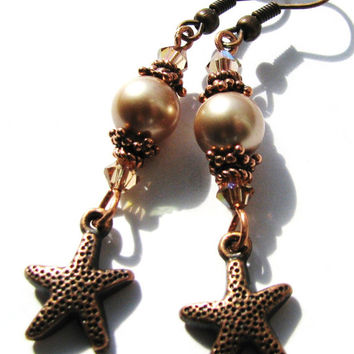 DAY SALE, Almond Pearl Earrings, StarFish Earrings, Antiqued Copper Earrings, Swarovski Crystals, Long Elegant Earrings, Beach Wedding