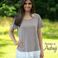 Jodifl Mocha Stripe Short Sleeve Top with Ruffle Hem - Boutique At Audrey's