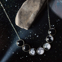 Moon Phase Necklace - Space Jewelry, Lunar Phases, Slide Pendants