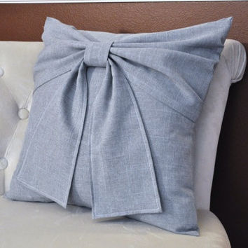 Grey Bow Pillow