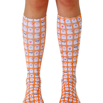 Emoji Ghosts Knee High Socks