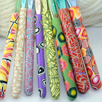 Polymer clay crochet hook set of 8, New Boye brand, each with a different handmade design, Sizes D/3 through K/10.5
