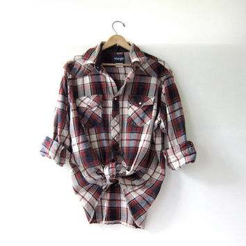Vintage Plaid Flannel / Grunge Shirt / Thick cotton pearl snap western shirt