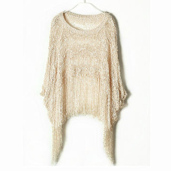 TP69 Women Vintage Boho Crochet Sequined Tassel Tops Retro Batwing Sleeve Knitted T-shirts Free Shipping