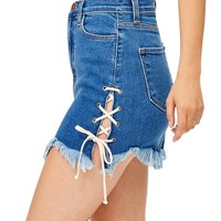 Lace Up Denim Mini