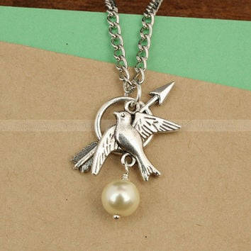 Katniss Bow with Mockingjay and Peeta Pearl necklace- The Hunger Games inspired