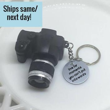Camera Keychain, Camera Charm, Camera Charm Keychain, Engraved Keychain, Customized Keychain, Teacher Gift, Gift for Him, Boyfriend Gift