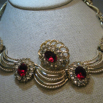 "Vintage Red & Clear Rhinestone Choker, Wreath Style, Gold Tone, 16"", 1 earring, 1960's"