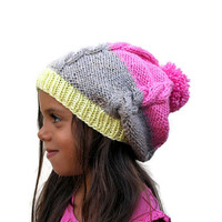 Knitted slouchy cable hat with pom pom, Girls knitted hat, Hot Pink- Oatmeal- light yellow hat, cable knit hat