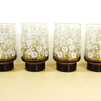 1970s Libby Drinking Glasses - Daisy Print (Set of 4) - 12 oz (.35 L)