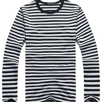 Oure Men Cotton Long Sleeve Striped T Shirts Crewneck V-neck Casual Shirts