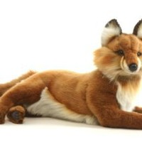 Hansa Lying Fox Plush, Red