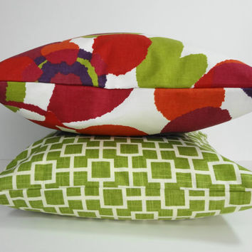 Two Decorative Pillow Covers, Green, Red, Throw Pillow Covers, Cushion, 18 x 18