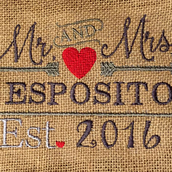 Personalized Wedding Gift Embroidered Mr & Mrs On Burlap Photo Anniversary 8X10