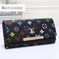 Perfect LV Women Leather Multicolor Buckle Wallet Purse