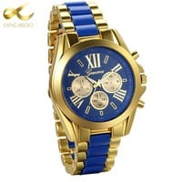 Lancardo Mens Watches Top Brand Luxury Gold Blue Steel Quartz Men's Watch 2017 Fashion Men Watches Male Clock Relogio Masculino