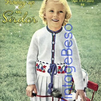 Jacket KNITTING Pattern Vintage 50s Girl's Jacket Sweater Knitting Pattern Sirdar 503 Child Ages 3 - 5 - 7 INSTANT Download Pdf Pattern