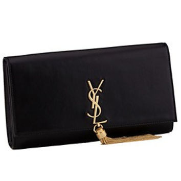 Saint Laurent Cassandre Tassel Black Clutch
