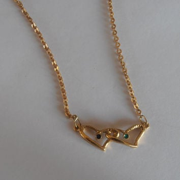 Vintage 18k Double Heart Necklace