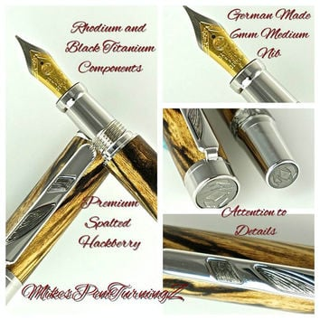 Custom Wooden Pen Fountain Beautiful Highly Figured Spalted Hackberry Rhodium and Black Titanium 748FPXLB
