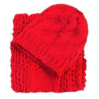 Luxury Divas Red Cable Knit Scarf Beanie Cap Hat 2 Piece Set