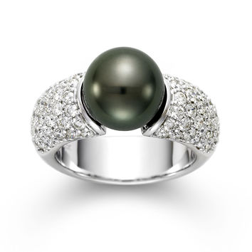 14K White Gold Black Tahitian Pearl and Pave Diamond Ring