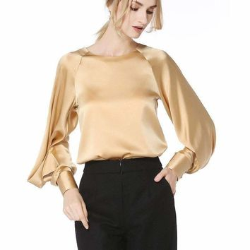 Silk Blouse Women Shirt Solid O Neck Long Lantern Sleeves 2 Colors Office Top Graceful Style