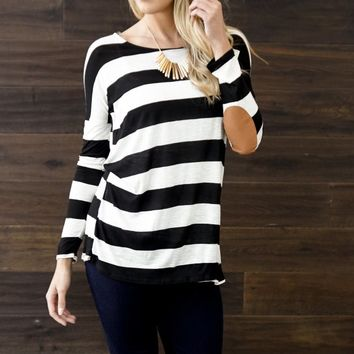 Black Ivory Striped Suede Elbow Patch Top