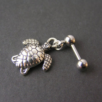 "Sea Turtle Tragus Piercing, 16g 1/4"" 6mm Cartilage Bar, Tragus Barbell, Helix Barbell, Small Dangle Cartilage Earring, Rook Piercing"