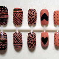 Nude Mixed Prints False Nail Set featuring Polka Dots, Aztec Print, Cheetah Print, Stripes and Heart
