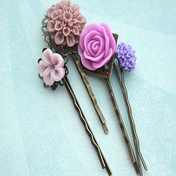 Shades of Purple Flower Hair Clips