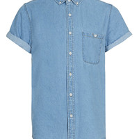 Light Blue Short Sleeve Denim Shirt - TOPMAN USA