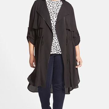 Plus Size Women's Pleione Asymmetrical Zip Long Jacket,