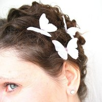 three white watercolor pure silk butterfly hair by katesCottage2