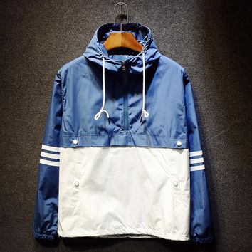 Couples hooded charge half waterproof zipper tooling jacket Blue white