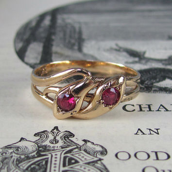 GORGEOUS Victorian ruby and gold double snake ring, antique engagment ring, alternative engagement ring, promise ring, ouroboros eternity.