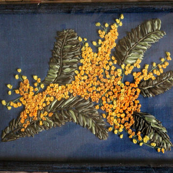 Wall Hanging Textiles Floral Gift Framed Unique OOAK Gift Yellow Blue Fiber Art Ribbon Embroidery Original Painting Creative Art Work