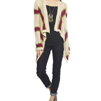 Aztec Stripe Open Cardi | Wet Seal