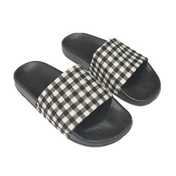Black Grids Printed Slipper Shoes