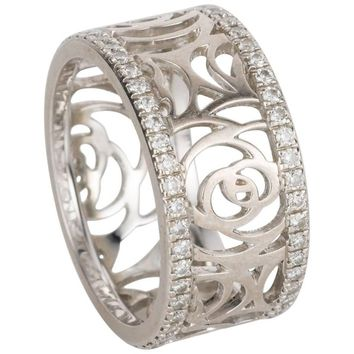 Chanel Ajoure 18 Karat White Gold Band Ring