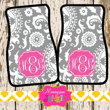 Personalized Monogrammed Car Mats- Vibrant Colors, Set of 2~