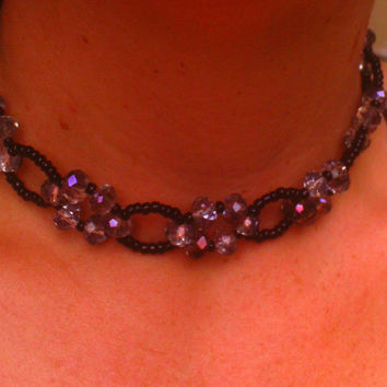 Goth Inspired Purple Crystal Woven Choker